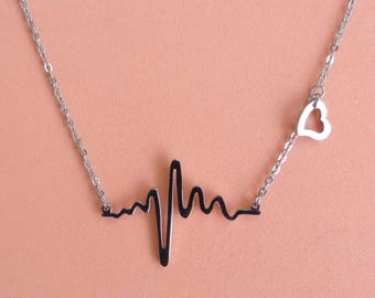 Stainless Steel Electrocardiogram Pendant Necklace - 18 inches