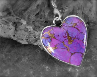 Purple Turquoise Heart set in Etched Sterling Silver-Pendant