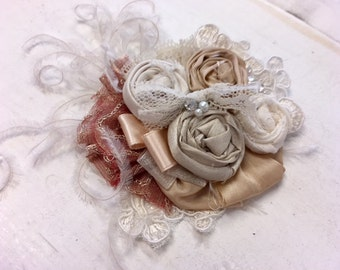 Champagne  & Ivory lace rosette headband/ hairclip