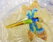 SALE Gorgeous Cloisonne large Dragonfly Pendant,Asian Dragonfly Pendant,Vintage Enamel Dragonfly Pendant