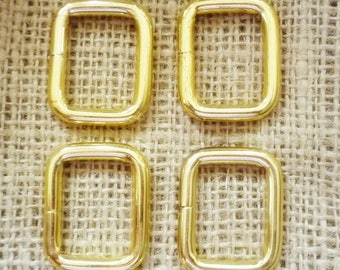 "SALE 6 Rectangle Gold Metal Findings 1 1/8"" X 1 3/8"" inch Lot of 6 Recycled from 60's Purses"