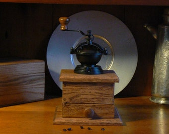 Mechanical Coffee Grinder - Mechanical Coffee Mill - Fresh Ground Coffee - Handmade wooden base - Burr Grinder - Foodie -CG103