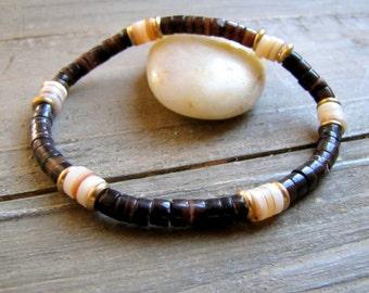 Men's Bracelet Men Shell Bracelet Men's Boho Jewelry for Men Surfer Bracelet Small Bead Bracelet Men's Boho Bracelet Surfing Bracelet Beach