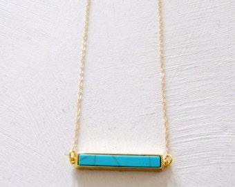 Turquoise Bar Necklace Minimalist Jewelry Modern Layering Necklace Turquoise Necklace Simple Necklace Casual Jewelry On Trend Jewelry