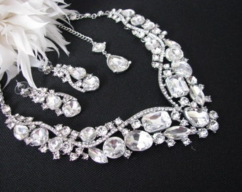Statement Wedding Necklace in  silver tone and Clear Sparkling Rhinestones Great Bridal Wedding Jewelry