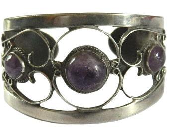 Vintage Mexican Sterling Silver Amethyst Cuff Bracelet