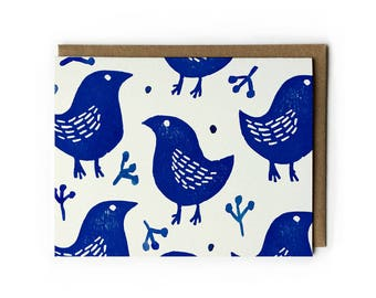 "Block Print Art, Block Print Greeting Card, Blank Greeting Card, Cute Bird Art, Blue Bird of Happiness, Folded Notecard, A2, 5.5"" x 4.25"""