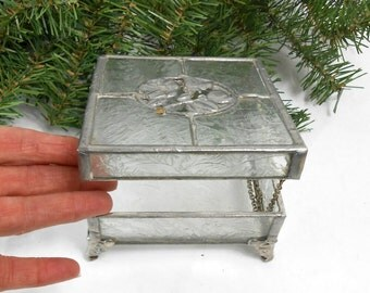 vintage stained glass trinket box handcrafted glass trinket box pewter floral cut out jewelry casket handmade jewelry box handmade Valentine