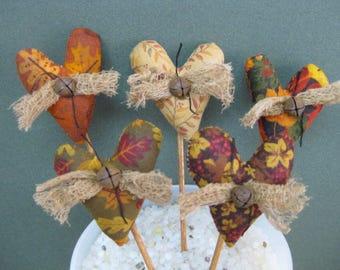 Fall Heart Plant Pokes - Primitive Fabric Bouquet - Set of 5 - Mini Heart Crock Pokes -  Primitive Autumn Country Home Decor - Small