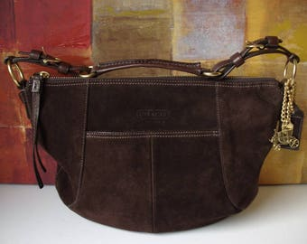 Vintage COACH Handbag Hobo Brown Leather Dust Bag and Accessories