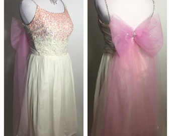 Sale 1960's Style Vintage Pretty in Pink Ombre Silk Bow Dress