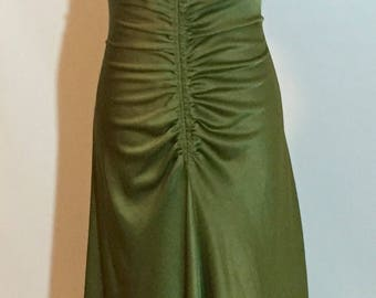 Gorgeous 1940's Style Hunter Green Beaded Evening Gown.