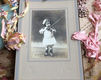 I Wouldn't Want To Buckle Her Shoes Antique Cabinet Photo Child Playing Violin