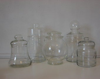 Vintage Glass Container Collection, Vintage Candy Jars