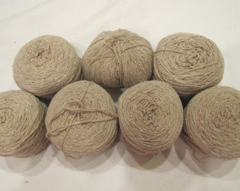 RTS - Destash -- Wool blend tan brown beige wheat colored knitting yarn lot of 7 skeins