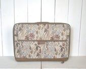 80s Floral Suitcase Vintage Jordache Beige Neutral Tapestry Print Large Luggage Bag