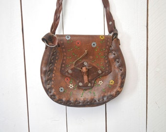 Tooled Leather Purse 1960s Hand Painted Authentic Vintage Thick Leather Cross Body Handbag