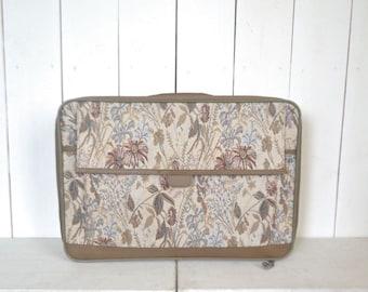 Floral Suitcase 1980s Jordache Beige Neutral Print Luggage