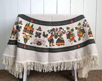 Round Fringe Tablecloth - 1960s Dutch Pictorial Folk Print - Vintage Linen Tablecloth - 58 Inch Diameter