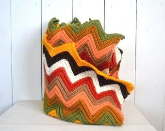 15% OFF Retro Crochet Throw Blanket - 1960s Colorful Chevron Stripe Blanket - Vintage Zig Zag Throw Rug - 54 x 44 Inches