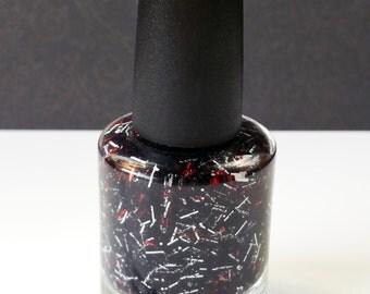 Red at Night -Non Toxic, BIG 5 FREE, Custom Blended Glitter Nail Polish. Full Size 15 ml Bottle. Premium Quality. Vegan