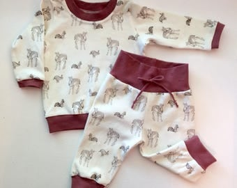 Gender Neutral Woodland, Fawn, Rabbit, Bunny, Squirl Two Piece Sweat Suit, Jogger, Child Clothing Set