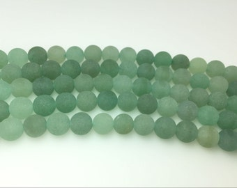 4mm / 6mm / 8 mm / 10mm / 12mm Round Matte Green Aventurine 15''L, 38 cm Loose beads Semiprecious Gemstone Bead Wholesale Beads Supply