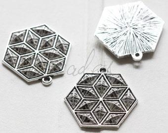 4 Pieces /  Hexagon / Texture / Oxidized Silver / Base Metal (C1448//D581)