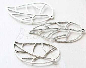 6 Pieces / Leaf / Oxidizd Silver / Base Metal / Charm (Y19955)
