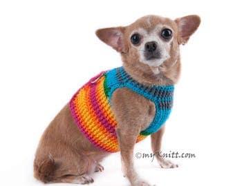 Medium Dog Harness Rainbow Adjustable Dog Training Collars No Pull Hook and Loop Fastener DH45 by Myknitt - Free Shipping