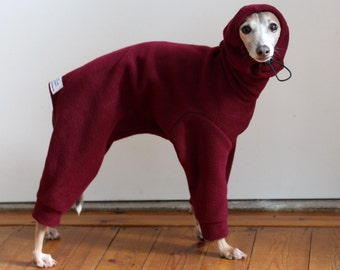 ONE only - Italian Greyhound size Medium IG standard EXTRA* (larger chest*)  Wine Snood Snowsuit / Jammies  - for measurements see details
