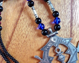 Rare Tuareg silver Amulet with Tuareg Cross, blue, red & Onyx Beads and Tifinagh at the back