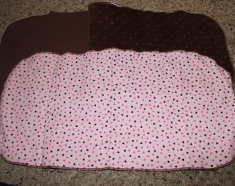 Pink and Brown Heart Burp Cloth With Flannel or Minky