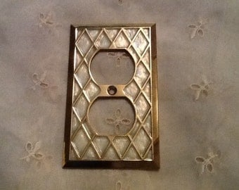 Electrical Outlet Covers Antique Brass & Mother of Pearl USA