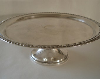 Vintage Silver Plates Footed Pedestal Cake Plate.