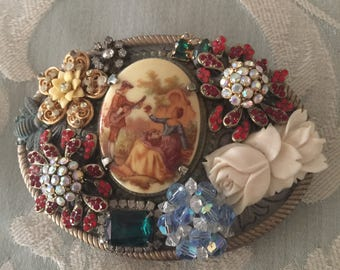 Handmade JEWELED Boho BELT Buckle - Renaissance Cameo Art and VINTAGE Glam  - Gypsy Woman