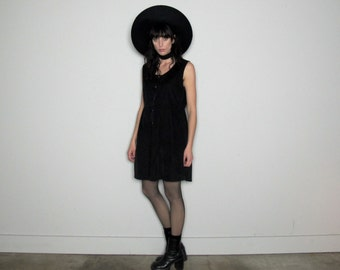 BABYDOLL Style 90s Cotton Velvet Corduroy BLACK Vintage DRESS Size M/L