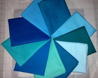 Blue/Green Kona Cotton Bundle, Robert Kaufman Fabrics, Choose Your Bundle Size