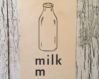 Vintage Alphabet Flash Card - M is for Milk - 1950s Illustrated School Flash Card