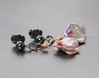 Lavender Keishi Dangle Earrings by Agusha. Keishi Drop. Oxidized Silver Post Earrings