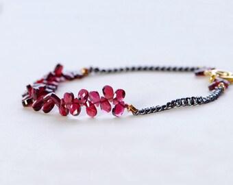 Garnet Bracelet by Agusha. Oxidized Silver Garnet Bracelet. Gemstone Bracelet. Red Gemstone Beaded Bracelet. January Birthstone.