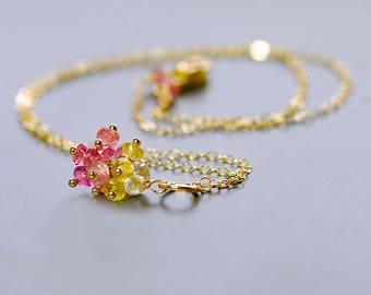Turmaline Cluster Pendant by Agusha. Pink and Gold Tourmaline Choker. Gemstone  Choker. Pink Gem Pendant. Gold Gem Pendant
