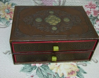 Antique Treasure Box with Bakelite Knobs on 2 Drawers, c.1930's Jewelry,Stationery, Etc.