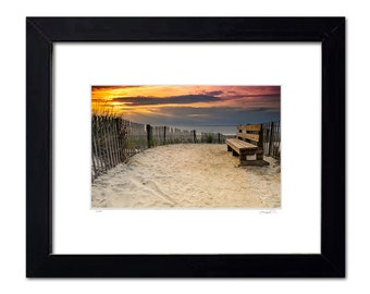 Framed Limited Edition Beach Wall Art, Nature Seascape Photography, Bethany Beach, Warm Tones, 11x14 inch Ready to Hang