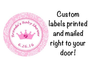 Baby Shower Printed Princess Round Party Stickers for Favors - Pink Crown and Damask Labels *Discounts Available