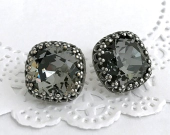 Dark Grey Earrings, SILVER NIGHT Swarovski Crystal Cushion Stud Earrings, Crown Bezel Antique Silver Chic Earrings