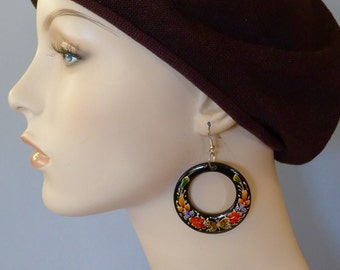 "Mexican handpainted enameled wood earrings black dangle hoop flowers & butterflies iboho gypsy Frida Kahlo - drop 2 3/4"" x 1 7/8"" wide"