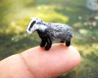 Micro Mini badger - Miniature Crochet Amigurumi Animal - Made To Order