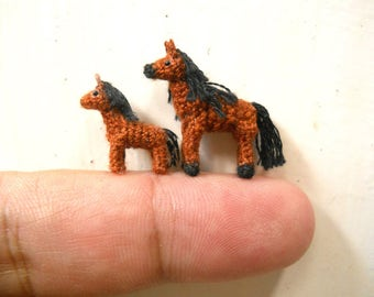 Brown Arabian Horse Family - Micro Amigurumi Miniature Crochet Tiny Stuffed Animal - Made To Order