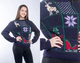 Blue Vintage Christmas Sweater MEDIUM   Winter Pullover Holiday Pattern Hand Knit Snowflake Sweater   Navy Blue Purple Xmas Shirt Holiday C6